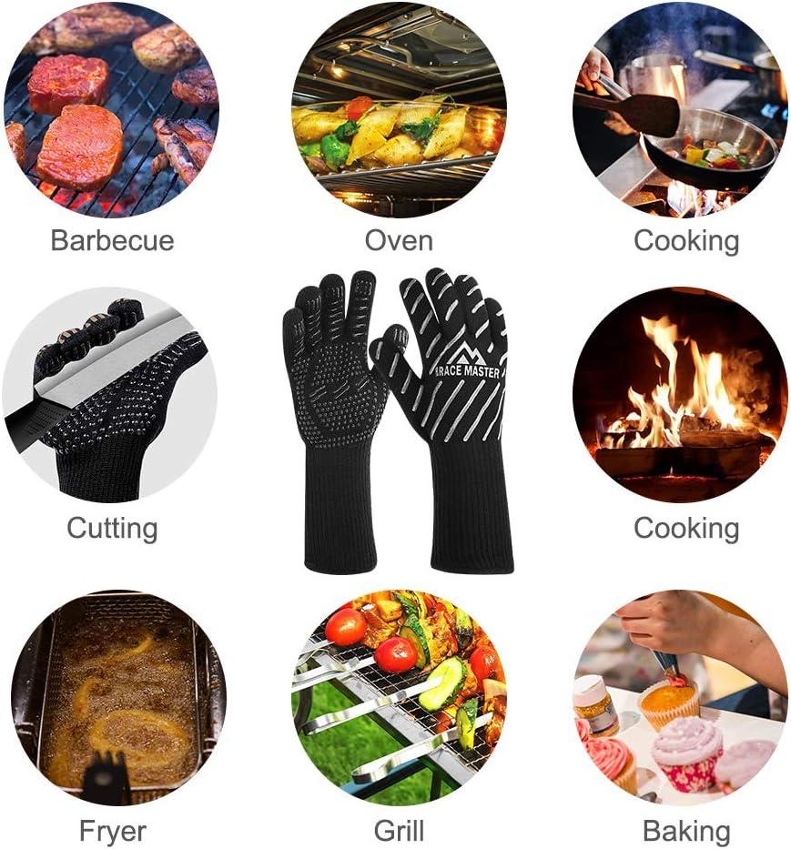 Vemingo Gants de barbecue soudage Ensemble de gants de four pour barbecue grill 800 /°C extr/êmement r/ésistants /à la chaleur cuisine jusqu/à 800 /°C p/âtisserie