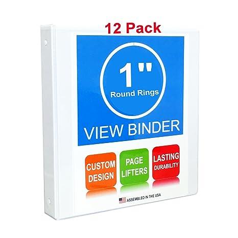amazon com 3 ring binder 1 inch round rings white 12 pack