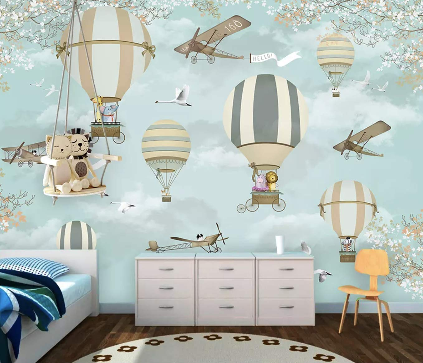 murwall hot air balloon, animals and aircraft little branch flower wall murals baby room textile wallpaper for baby nursery