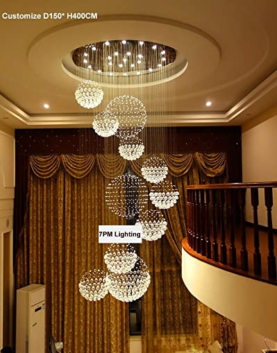 7PM W47 X H138 Round Large 11 Sphere Rain Drop Clear LED K9 Crystal Chandelier