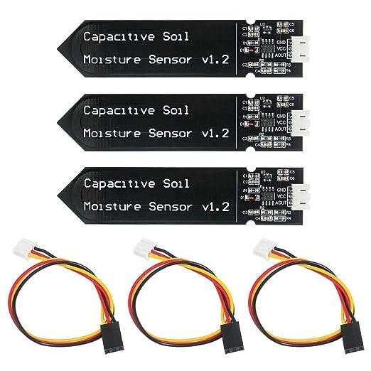KeeYees 3 Piezas Módulo Sensor de Humedad del Suelo Capacitivo ...