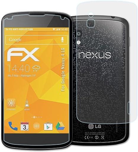atFoliX Película Protectora Compatible con Google Nexus 4 LG ...