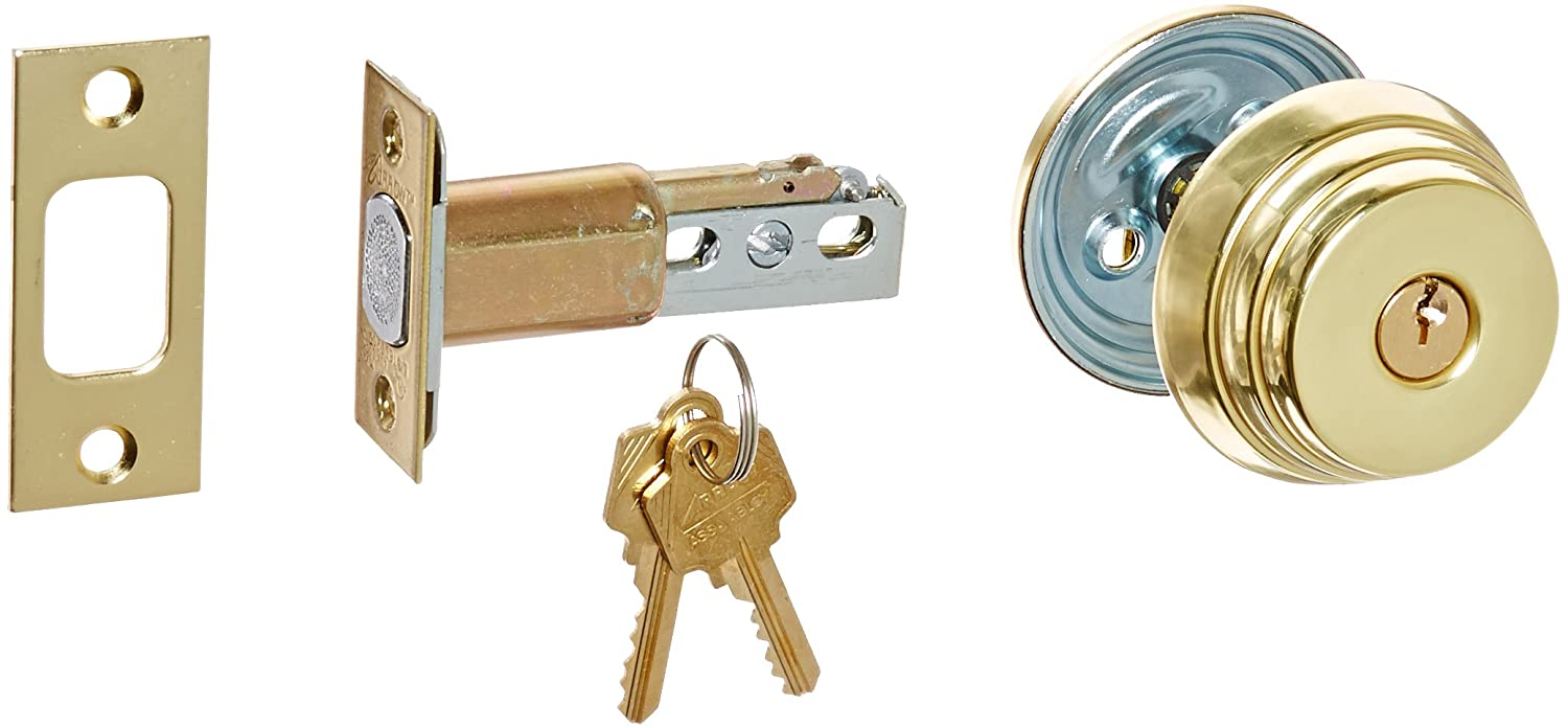 Pack of 1 Arrow Lock E Series Bright Brass Occupancy Indicator Deadbolt Auxiliary Lock with Single Cylinder 1-3//8 to 1-3//4 Door Thickness