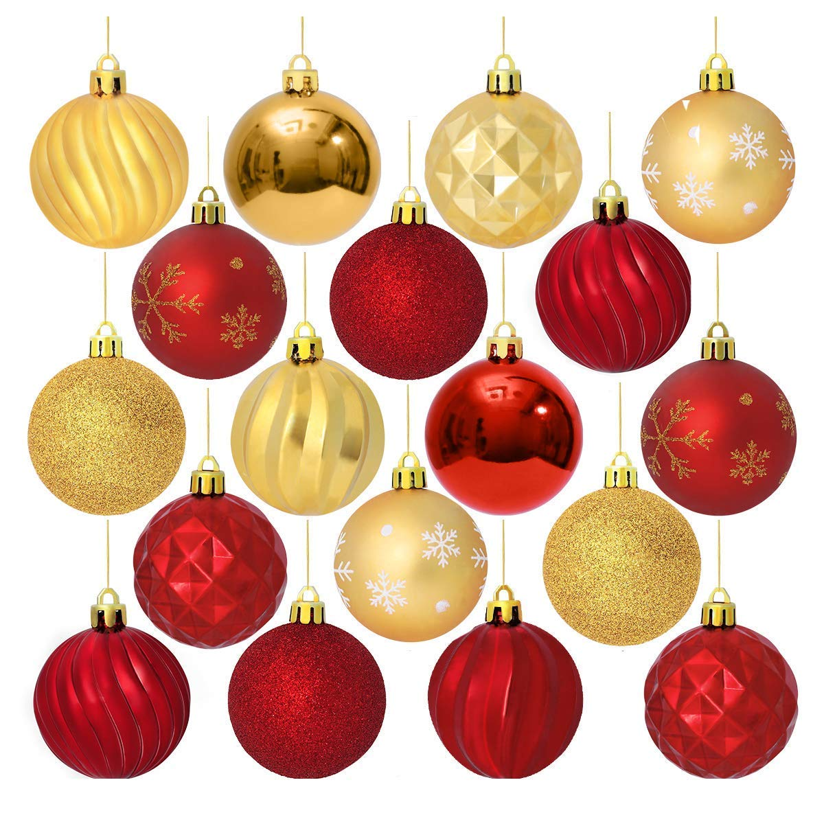 Unomor Christmas Tree Ornaments 6 Patterns 24pack Red And Gold Shatterproof Christmas Ornaments 60mm