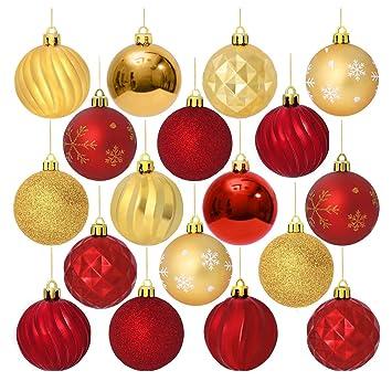 Weihnachtskugeln Rot Gold.Unomor 24 Stücke Christbaumkugeln Rot Und Gold Weihnachtskugeln Mit Aufhänger Weihnachtsbaumschmuck 60mm
