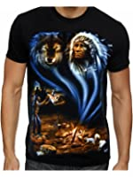 Mens Native American Indian Wolf Eagle Biker t-shirt