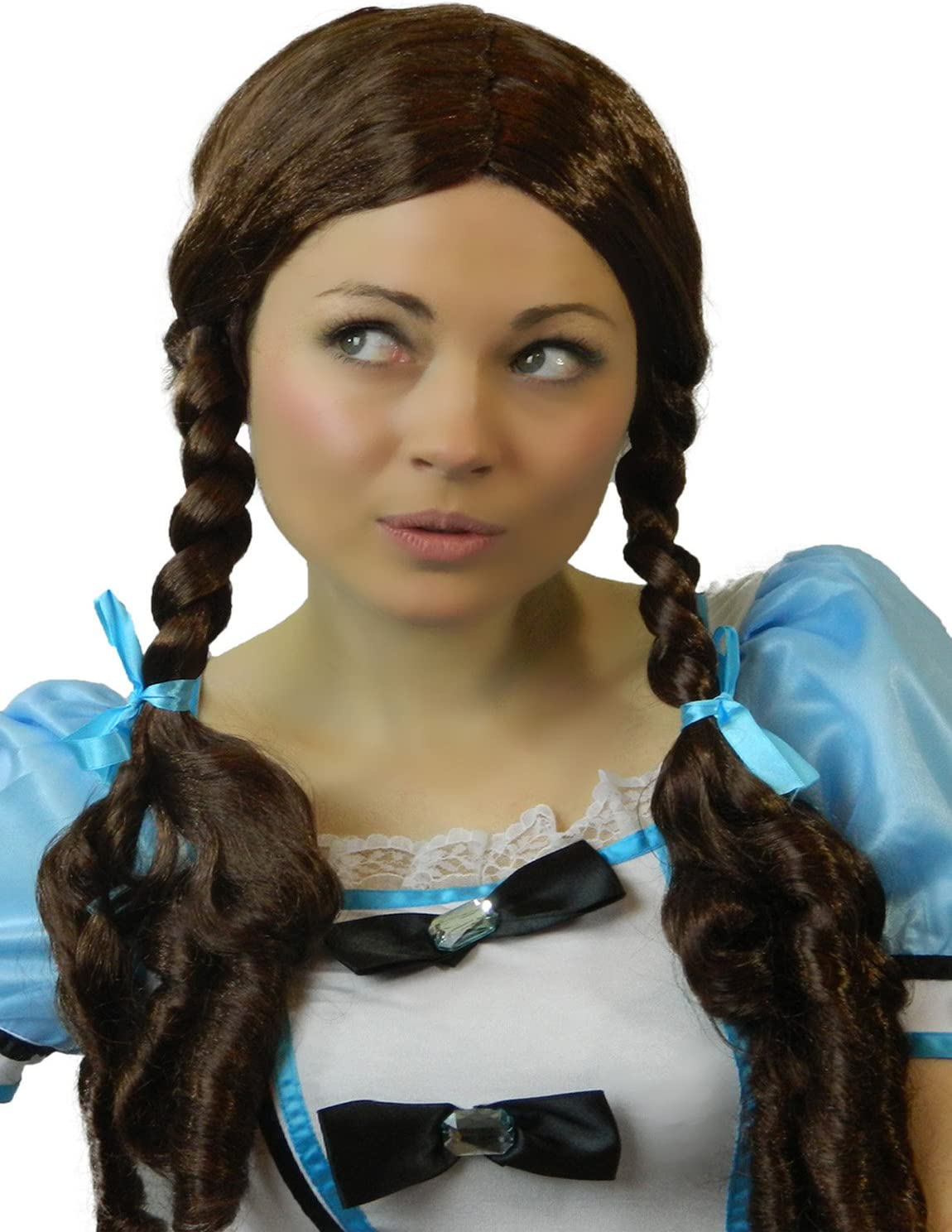 New Brown Plaited Country Girl Wig With Red Bows Dorothy Wizard Of Oz Ladies