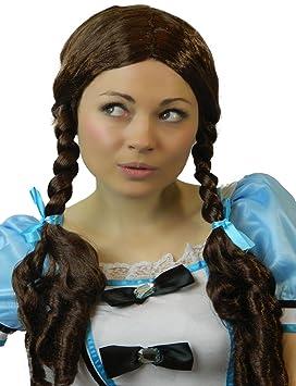 Yummy Bee Peluca Marrón Dorothy Trenzas Rubia Mujer Colegiala Disfraz
