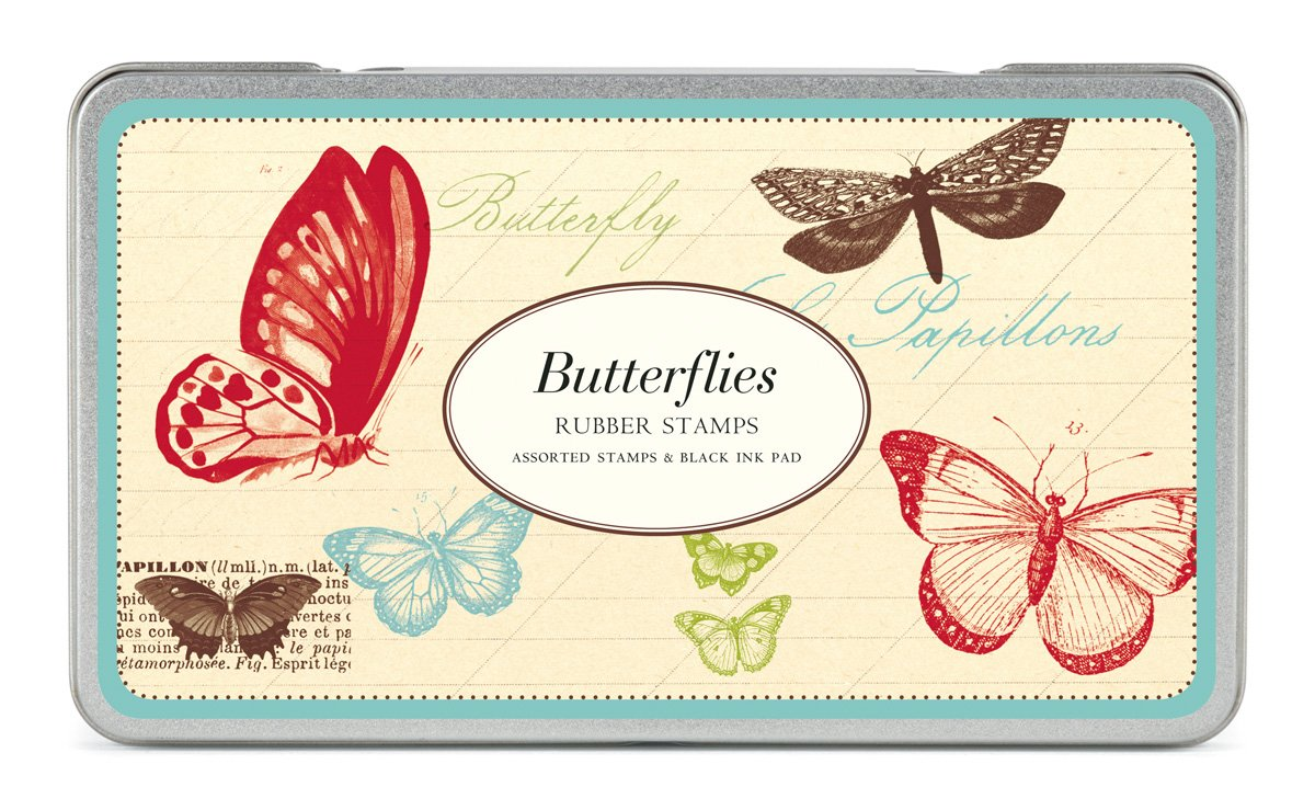 Cavallini Rubber Stamps Butterflies, Assorted with Ink Pad