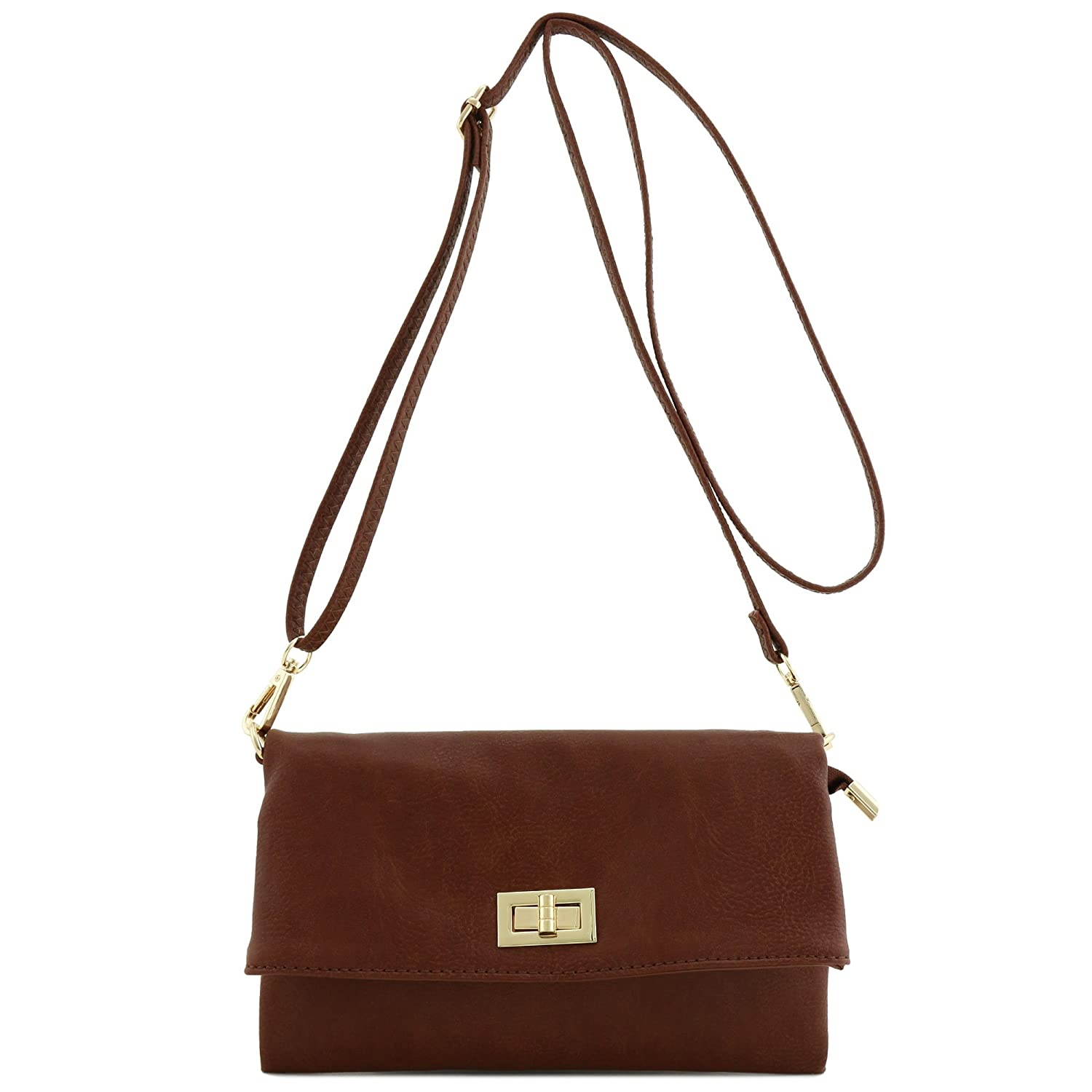Coffee Double Compartment Turnlock Envelope Clutch Crossbody Bag