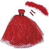 Rote Pailletten Puppen Kleider trägerloses Kleid w / Schal Handschuhe Partei Ball Hochzeits Kleid Prinzessin Kleid Kleidung für Puppe