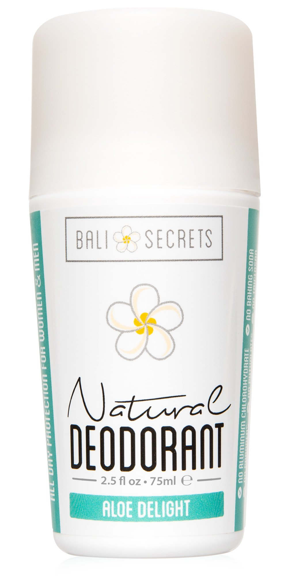 Bali Secrets Natural Deodorant - Organic & Vegan - For Women & Men - All Day Fresh - Strong & Reliable Protection - 2.5 fl.oz/75ml [Scent: Aloe Delight]