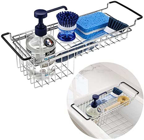 Kitchen Sink Caddy Sponge Holder Dish Sponge Organizer Caddy For Kitchen Sink Expandable 13 3 18 3 Brush Soap Drying Rack Stainless Steel Amazon Ca Home