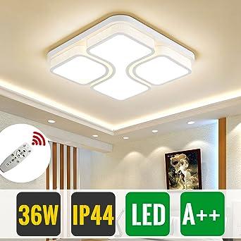 HG 36W Dimmbar Mit Fernbedienung Schlafzimmer Leuchte Weiß Modern LED  Deckenleuchte IP44 Eckig Wohnzimmer Lampe Esszimmerlampe