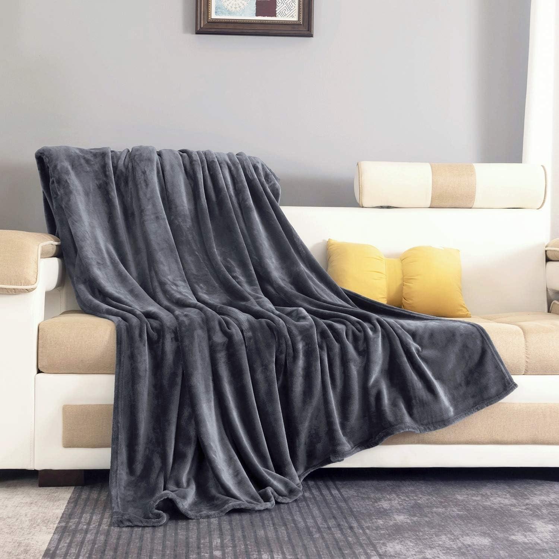 Fleece Blanket Twin Size Dark Gray, Soft Cozy Microfiber Flannel Blankets for Sofa / Chairs / Bed - Lightweight, Warm, Cozy