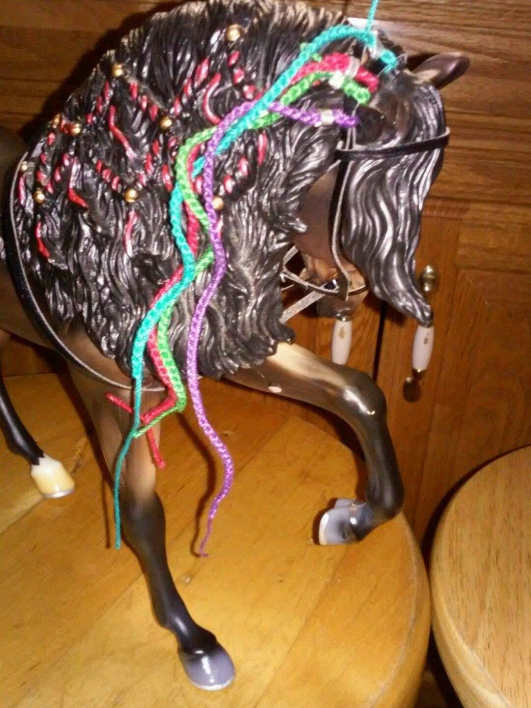 Breyer horse custom three braided ribbon bridles
