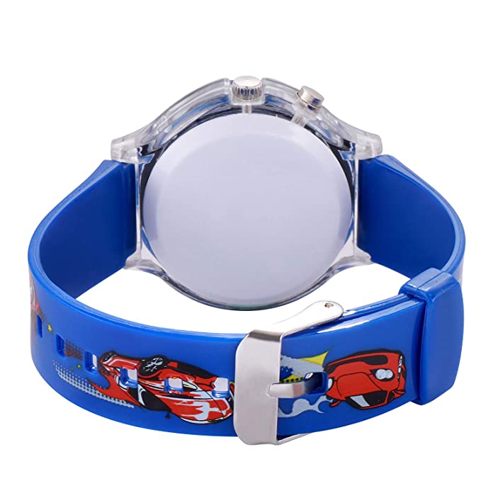 Kidzo Race Car Blue Boys Analog Wrist Watch with 7 Color Lights