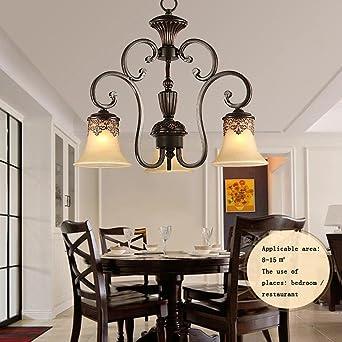 BiuTeFang Américain fer lustre lampe de salon européen ...