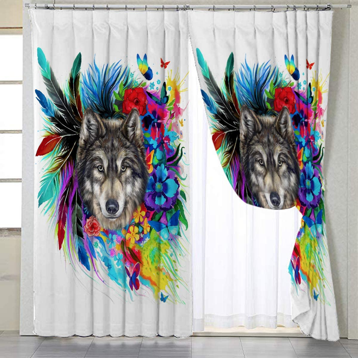 BlessLiving Boho Wolf Window Curtains Watercolor Wolf with Colorful Flowers Window Treatment Fluffy Living Room Curtains,42 W x 63 L Grommet