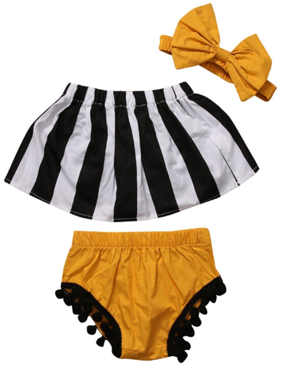 Kids Baby Girls Stripe Crop Tops+ Tassel Shorts Pants +Headband Outfits Sunsuit