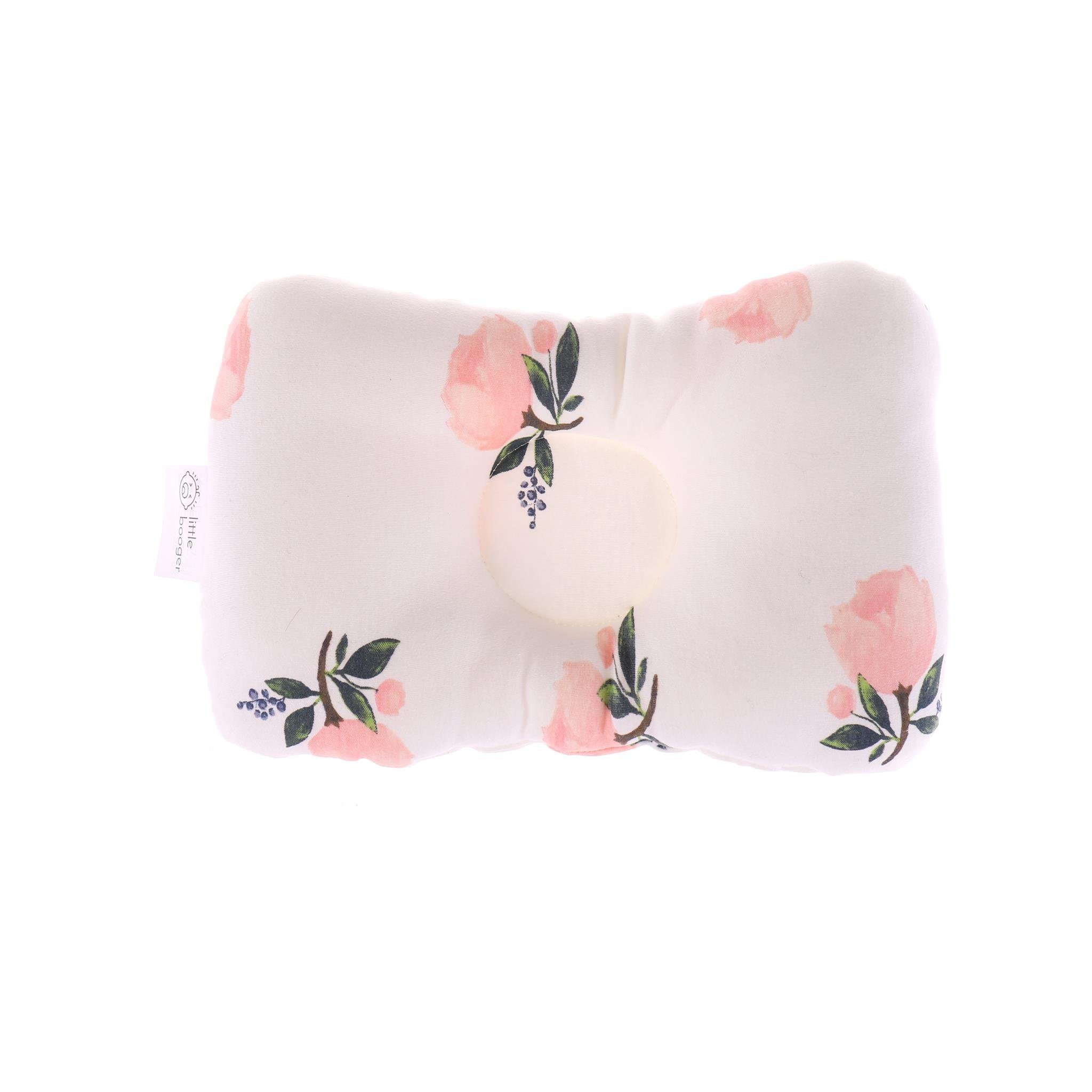 Organic Head Shaping Nursing Baby Pillow For Newborn/Infant, Protection from Flat Head Syndrome, Plagiocephaly (Roses)