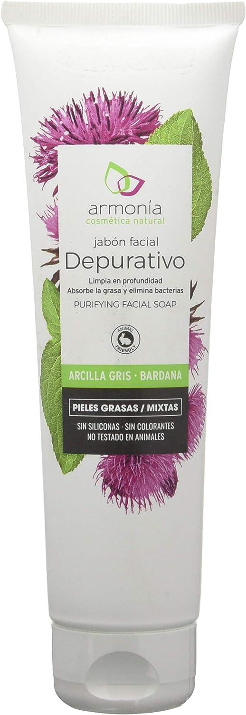 Jabón facial de arcilla gris a la bardana de Armonía Cosmética Natural 150 gramos