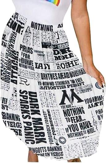 BingSai Faldas Plisadas para Mujer con Estampado de periódico ...