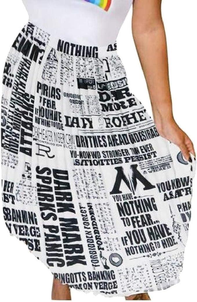 dahuo Falda Plisada para Mujer, impresión de periódico A-Line ...