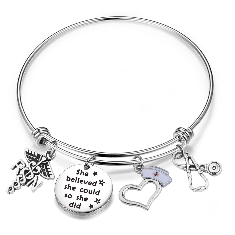 Lywjyb Birdgot Nurse Graduation Gift She Believed she Could so she did RN Nurse Bracelet Gift for Her
