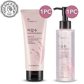 c4175fae2339 [THEFACESHOP] Rice Water Bright Cleansing Foam (150 mL/5.0 Oz) & Light  Cleansing Oil (150 mL...