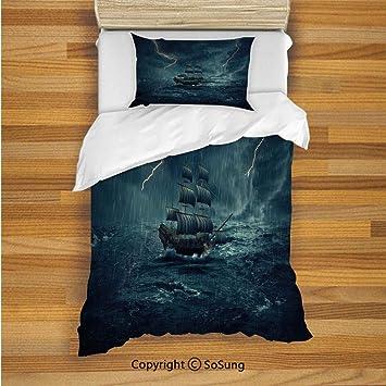 Amazon.com: Juego de 2 fundas de almohada de paisaje, diseño ...