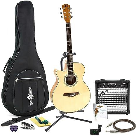 Guitarra Electroacustica Cutaway Zurda + Pack Completo: Amazon.es ...
