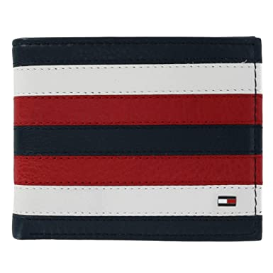 b21716eedb1 Tommy Hilfiger Men's Carmine Leather Red White and Blue Passcase Bifold  Wallet, Red, White, and Blue at Amazon Men's Clothing store: