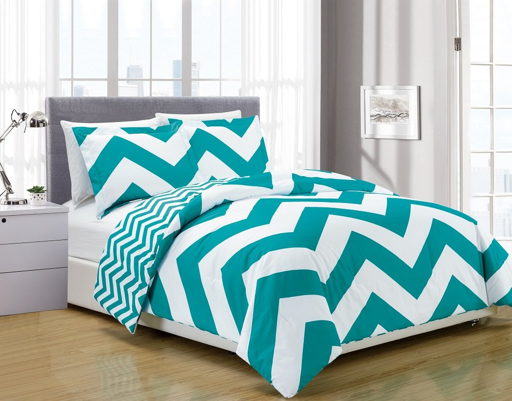 Chezmoi Collection 3-piece Chevron Zig Zag Comforter Bedding Set (King, Teal