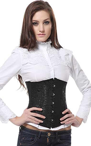 SZIVYSHI Mujer Steampunk Cors/é de Underbust Cintura Waist Cincher g/ótico Bustier Fajas Reductoras de Cintur/ón Firme de Formaci/ón para