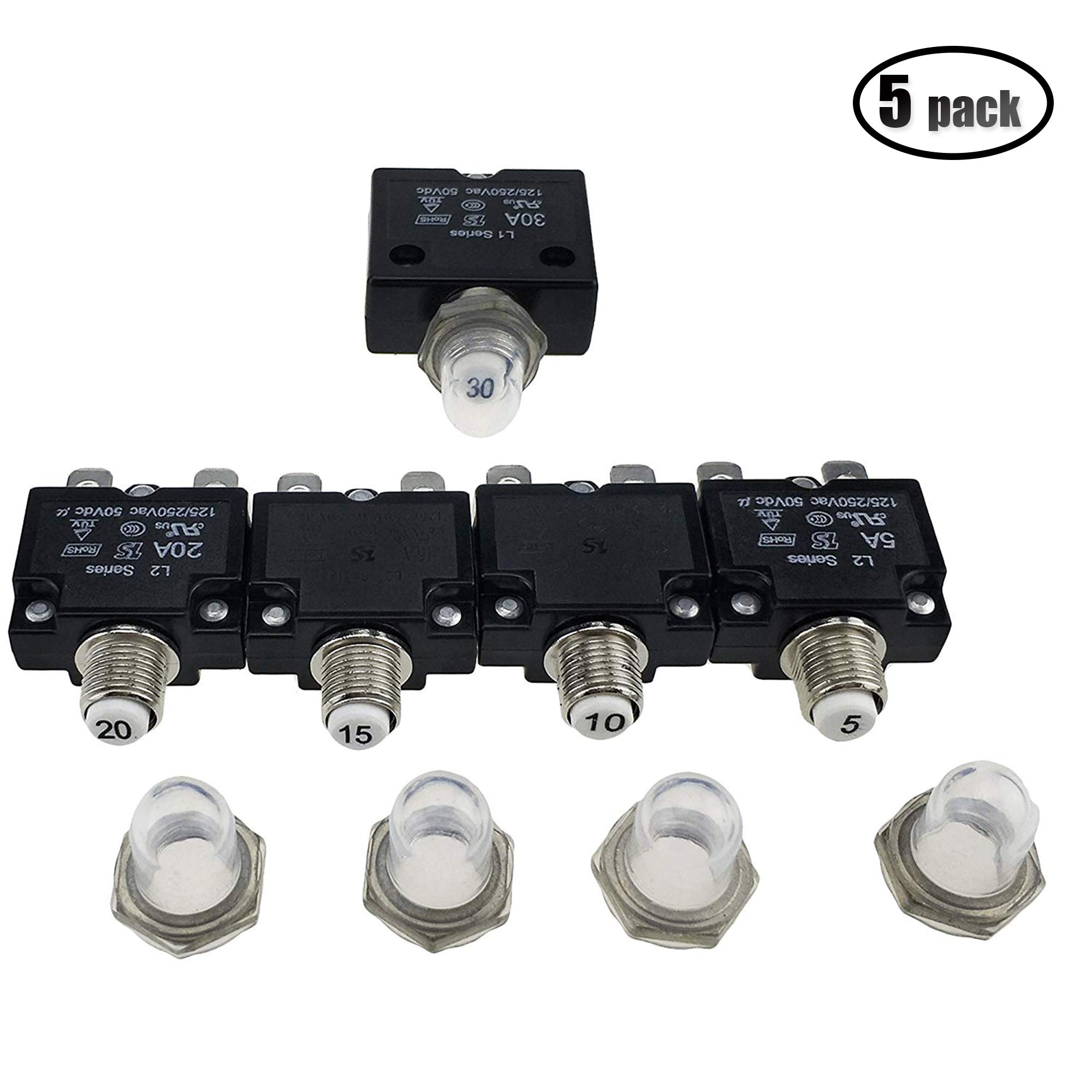 IZTOSS 5PCS 5Amp 10Amp 15Amp 20Amp 30Amp Circuit Breakers with manual reset Waterproof Button transparent Cover DC50V AC125-250V with Quick Connect Terminals by IZTOSS
