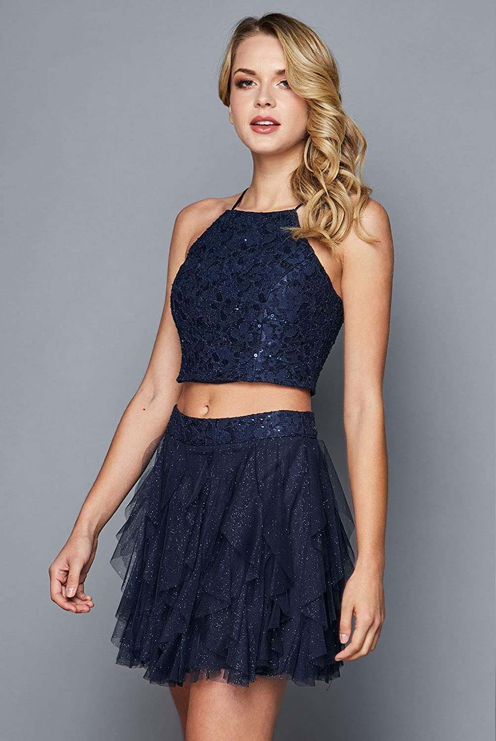 0aad584b992 Amazon.com: Teeze Me Two-Piece Halter Floral Sequin Lace Crop Top Corkscrew  Social Dress: Clothing