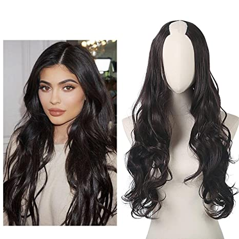 "4 Dark Brown   SARLA 26"" Long Wavy Women Synthetic Half Wigs 3 Sides U  Part Wigs 9 Colors Available UW01 ( 4 Dark Brown)  Amazon.in  Beauty 53db5ab87440"