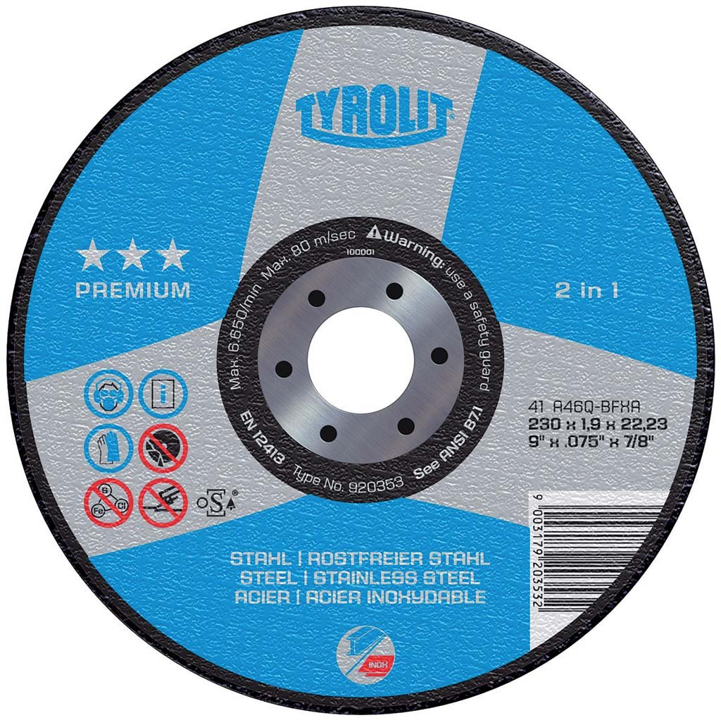 Tyrolit 41 Cutting Disc Dimensions 230x2,5x22,23 Weave Straight Connector, Pack of 25 [Pack of 1, 872343 23Weave Straight Connector Pack of 25[Pack of 1