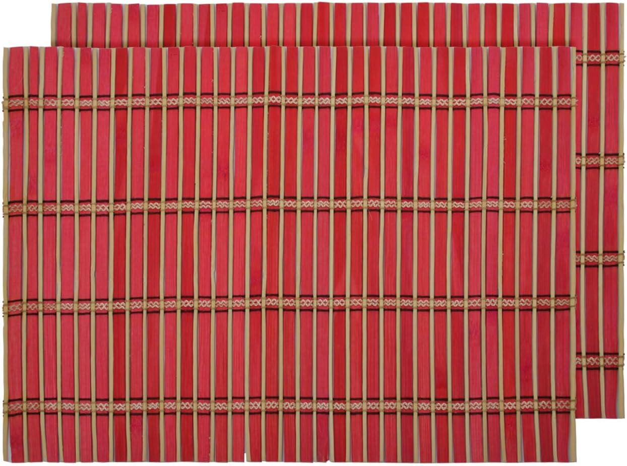 BTS-104 Set da 2 Tovagliette da Tavola Americane Arancione bamb/ù Rettangolari Lavabili 30 x 40 cm Ecologico Decorazione Antimacchia Naturale per Colazione