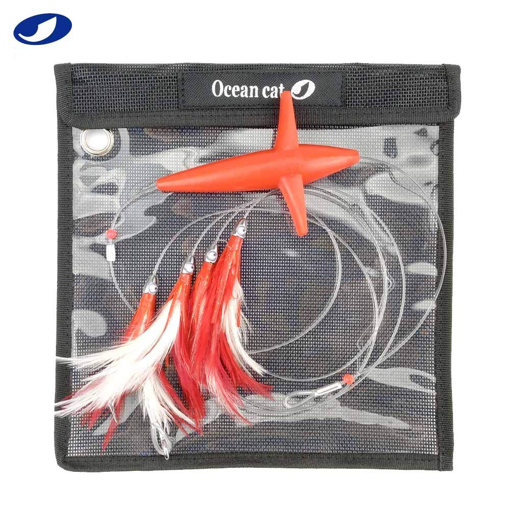 OCEAN CAT 5 Pcs/Set 5 inches Daisy Chain Trolling Lures with Brid Feather Teaser Saltwater Offshore Big Game Trolling Lure Bag for Marlin Tuna Mahi Dolphin Durado Wahoo Free Mesh (Red) by OCEAN CAT