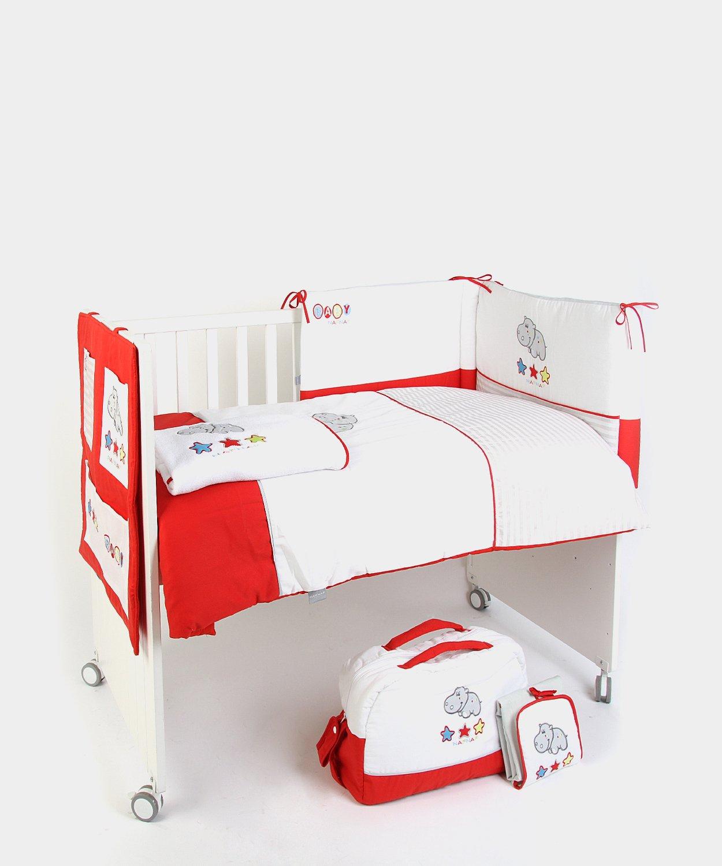 Naf-Naf 30553 - Set coperta imbottita, sponda paracolpi, organizer portaoggetti, copertina estiva, borsa fasciatoio e materassino per il cambio, decorazione ippopotamo