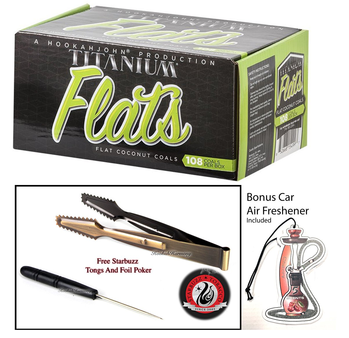 Titanium Natural Coconut Hookah Charcoal Flats 1kg Box with Starbuzz Coal Tongs And Foil Poker