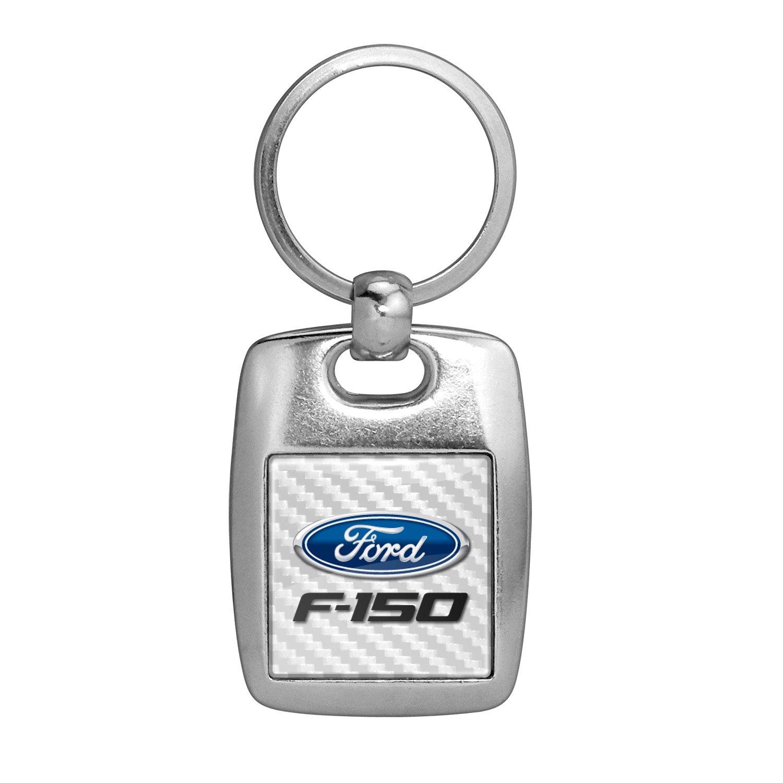 フォードF - 150ホワイトカーボンファイバーBackingブラシメタルキーチェーン、Made in USA B06Y2MTPWQ