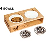 Lepet Elevated Dog Cat Bowls, Raised Pet Feeder Solid Bamboo Stand Perfect for Cats and Small Dogs