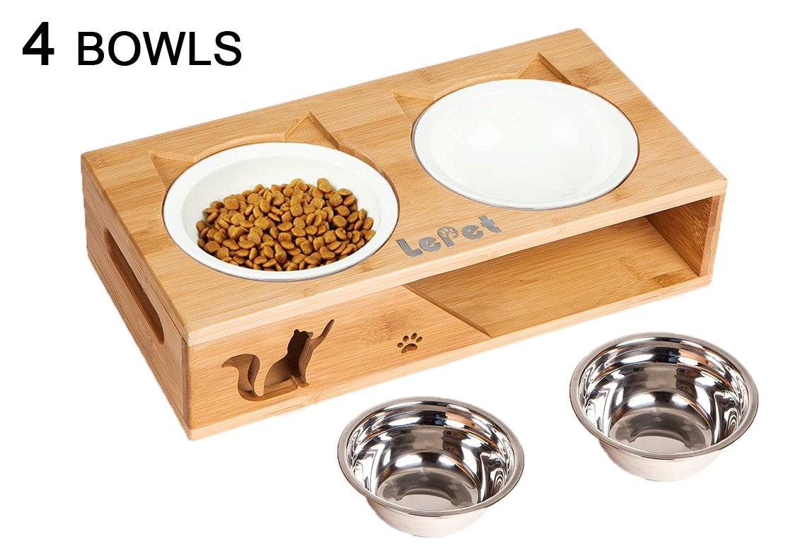 Lepet Elevated Dog Cat Bowls, Raised Pet Feeder Solid Bamboo Stand 2 Ceramic bowls and 2 Stainless Steel bowls Perfect for Cats and Small Dogs(Plane)