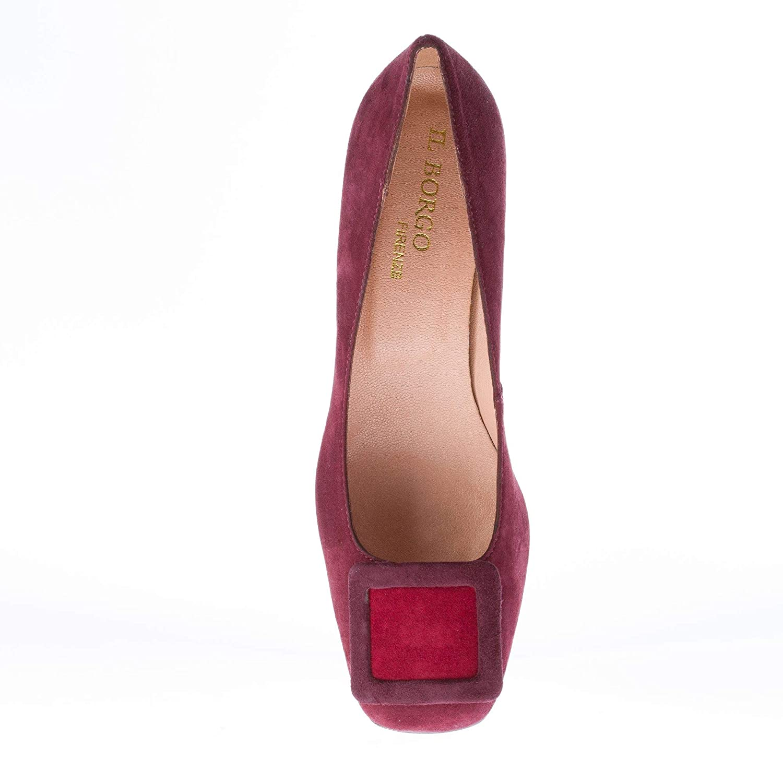 IL BORGO FIRENZE Donna Decolletè in camoscio Bordeaux con Fibbia. Tacco 5 cm   Amazon.it  Scarpe e borse 9a263507bea