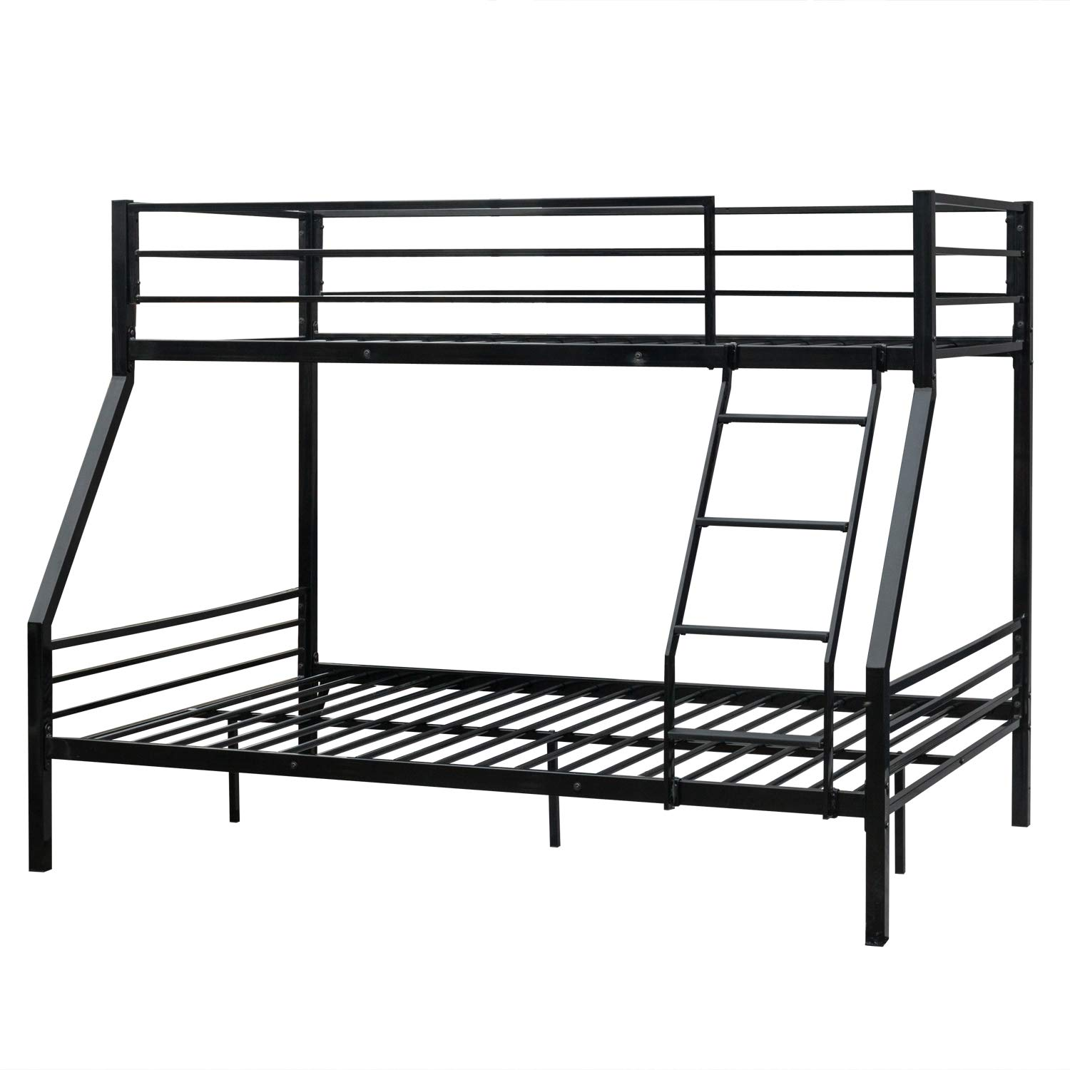 Steel Bunk Bed Twin Over Full,JULYFOX Bed Frame 580 lb Heavy Duty with Headboard Inclined Ladders Full Length Side Guard Rails No Box Spring Needed Platform Bed for Kids Teens Juniors Adults-Black
