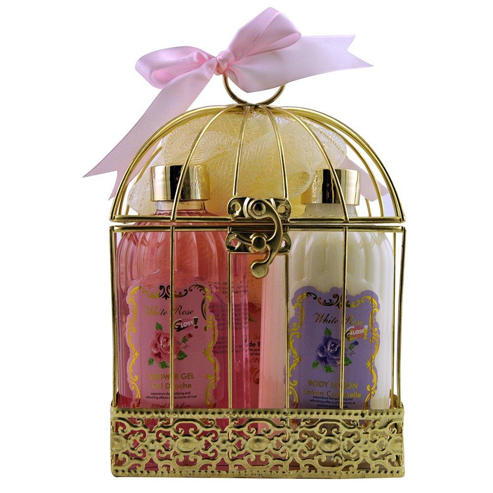 Gloss! Cage de Bain Lemon Blossom Rose, Lys & Freesia, Jasmin & Magnolia 4 Pièces, Coffret Cadeau-Coffret de bain 14CN17-R