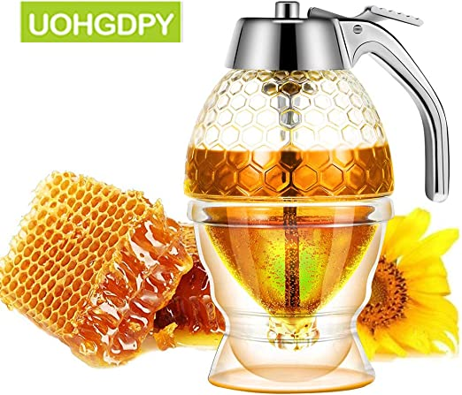 Moderate Flow Honey Dispenser with Storage Stand 200ML Syrup Dispenser Jar Container Plastic Acrylic Storage Pot- Shatter Proof /& BPA Free,No Drip 8Oz